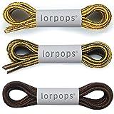 """lorpops Lacci per stivali tondi [2 paia] Lacci resistenti e durevoli per stivali, diametro: 3/16""""Stivali da lavoro e scarpe d"""
