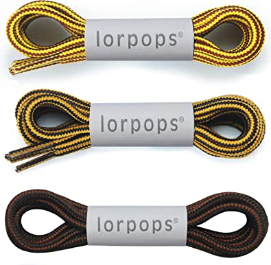 """lorpops Lacci per stivali tondi [2 paia] Lacci resistenti e durevoli per stivali, diametro: 3/16""""Stivali da lavoro e scarpe da trekking(UK)"""