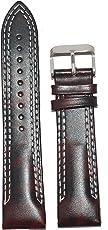 Kolet® 22mm Leather Half Padded White Double Stitched Watch Strap (Dark Marron)