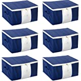 HomeStrap Non Woven Big Underbed Storage/Bag with Transparent Window (Pack of 6, Blue)