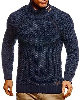 Leif Nelson Herren Strick-Pullover Rollkragen Slim Fit f/ür Winter Sommer Moderner schwarzer M/änner Winterpullover Sweatshirt Langarmshirt Herren Basic Hoodie-Shirt LN5295