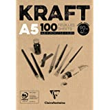 Clairefontaine 96544C Bloc Encollé Papier Kraft - 100 Feuilles Papier Kraft Vergé Brun A5 14,8x21 cm 90g - Papier Double Face