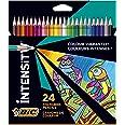 BIC Intensity Crayons de couleur Triangulaires Pointe 1,3 mm Sans Bois, en résine Résistants aux Chocs - Couleurs Assorties,