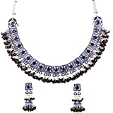 Touchstone Indian Bollywood Traditional Grand Designer Jewelry Choker Necklace Set in Antique Gold Tone for Women.