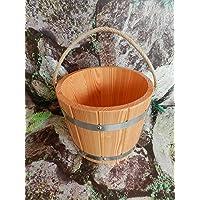 Achleitner Seau de Remplissage de Sauna en Bois de mélèze certifié PEFC 5 litres avec Corde de Chanvre