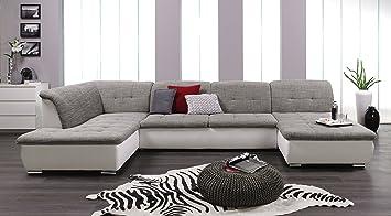 Xxl sofa u form  Wohnlandschaft, Couchgarnitur XXL Sofa, U-Form, weiss/grau ...