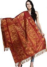 Exotic India Rococco-Red Brocaded Prayer Shawl from Tamil Nadu with Lakshmi Ganesha Saraswati Kartikkeya and Venkateshvara