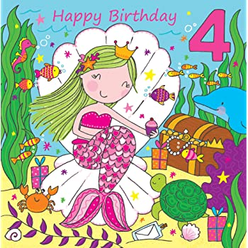 Twizler 4th Birthday Card For Girl With Cute Mermaid Glitter