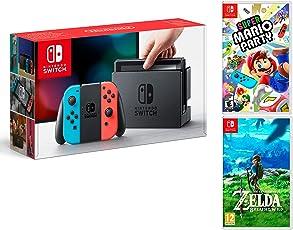 Nintendo Switch 32Gb Neon-Rot/Neon-Blau Pack Super Mario Party + Zelda: Breath of The Wild