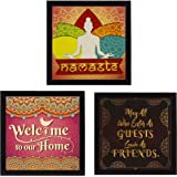Indianara 3 Piece Set of Framed Wall Hanging Welcome Home Decor Art (1519) Prints 8.7 inch X 8.7 inch Without Glass