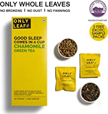 Onlyleaf Chamomile Green Tea, 27 Tea Bags with 2 Free Exotic Samples