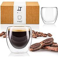 Tempery ✮ Tasse à café/Expresso/Espresso en Verre - 8cl - Set/Coffret de 6 Tasses à café Double paroi – Tasse Expresso…