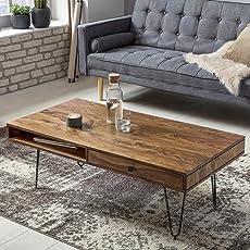Wohnling Couchtisch BAGLI Massiv Holz Sheesham 120cm Breit Wohnzimmer Tisch  Design Metallbeine Landhaus