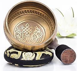 Silent Mind ~ tibetische Klangschale Set ~ Bronze Mantra Design ~ mit Klöppel und Kissen~ ideal für Achtsamkeit Meditation, Entspannung, Stress und Angstreduktion, Chakra Heilung, Yoga, Zen ~ perfektes spirituelles Geschenk