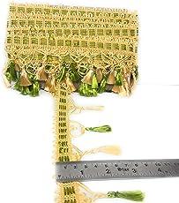 Crisskross Gotta Patti Lace Border, Latkan Zhallar/Green/ Cream/Designer for Dress/Sarees/Lehenga/Suits/Blouses and Craft 6.5cm X 5meters Approx Pack…