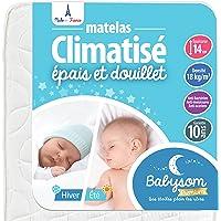 Babysom - Matelas Bébé Climatisé - 60x120 cm   Réversible : 1 Face Été Fraîche et 1 Face Hiver Ouatinée   Anti-acarien…