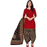 Miraan Cotton Printed Readymade Salwar Suit For Women(MIRAANSGPRI405, Red)