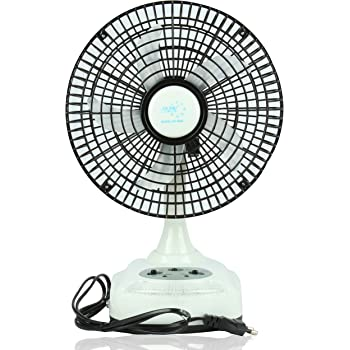 "Akari Ak-8008 8"" Rechargeable Ac/Dc Table Fan With Led Light, Solar Charging,White"