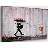Banksy Graffiti Toile Art Décor Kid Playing in Colorful Rain Tableau Street Art Impression sur Toile Tableau Décoration mural