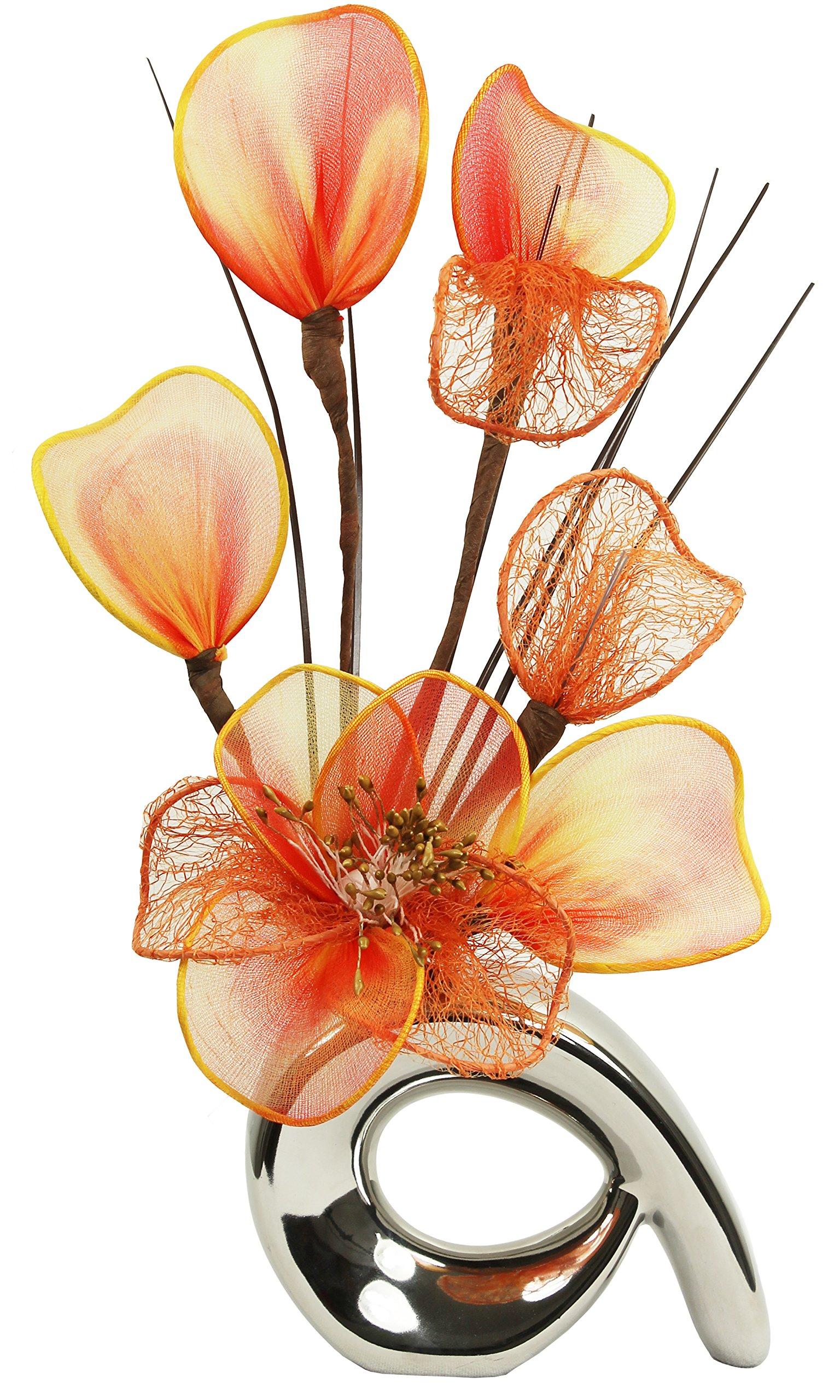 Flourish 792862 qh1 silver vase with orange nylon artificial flourish 792862 qh1 silver vase with orange nylon artificial flowers in vase reviewsmspy