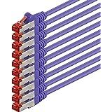 Netwerkkabel Cat 6-0,25m - violet - 10 stuks Ethernetkabel Lankabel Cat6 Sftp Patchkabel Set 1000 Mbit s