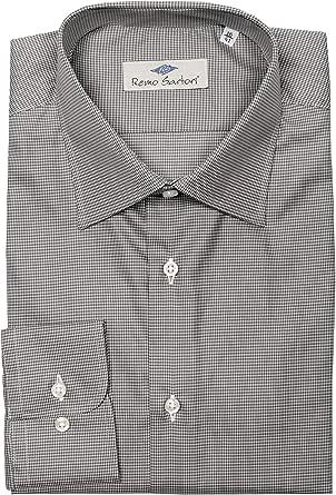 Remo Sartori - Camicia Uomo in Cotone Pied de Poule, vestibilità Regolare, Maniche Lunghe, Made in Italy