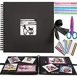 Inicia 30x30 cm Kit Álbum de Fotos Scrapbook Recortes para Pegar con 5 Bolígrafos Metálicos, Tijeras y 216 Esquineras para Fo