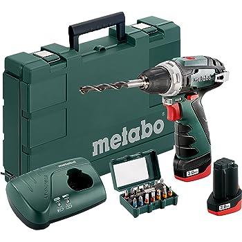 Perceuse-visseuse sans fil PowerMaxx BS + mandrin auto-serrant, crochet de ceinture, 2batteries au lithium, u, chargeur LC 40, un coffret en plastique et 15piècesBit-Box SP - 10,8V, 2,0Ah