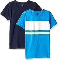 LOOK by crewcuts Pack de 2 Camisetas de Manga Corta con Diseño Gráfico/Liso Niño