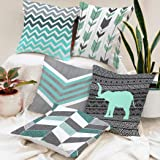 BRICK HOME Printed Canvas Cotton Cushion Cover (Grey, Teal, 16X16 Inches) - Set of 5