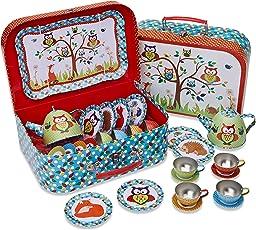 'Woodland Tiere Kinder Dose Tee-Set & Carry Fall (14-teiliges Tee-Set für Kinder) glibbrigem Kröte'