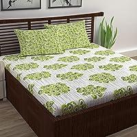 Divine Casa 100% Cotton Abstarct Print Mix N Match Bedsheet for Double Bed (Green )