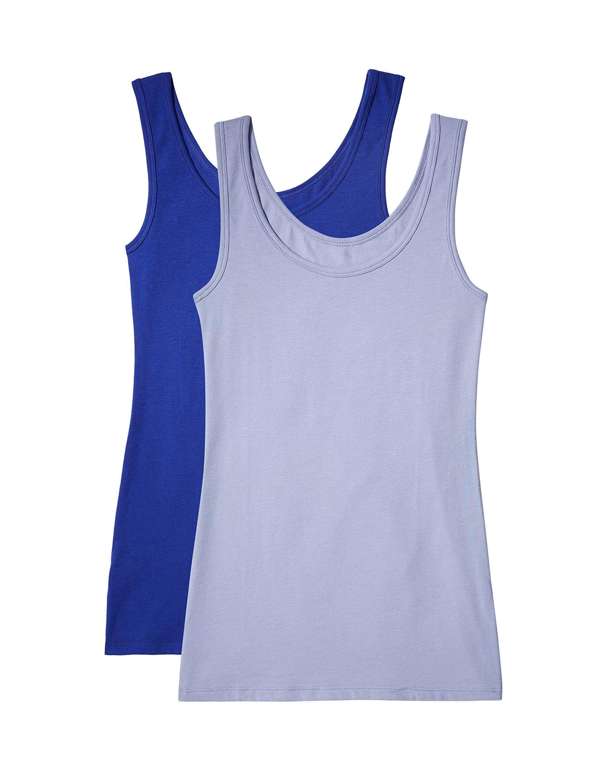 Marca Amazon – IRIS & LILLY Camiseta de Tirantes de Algodón para Mujer, Pack de 2