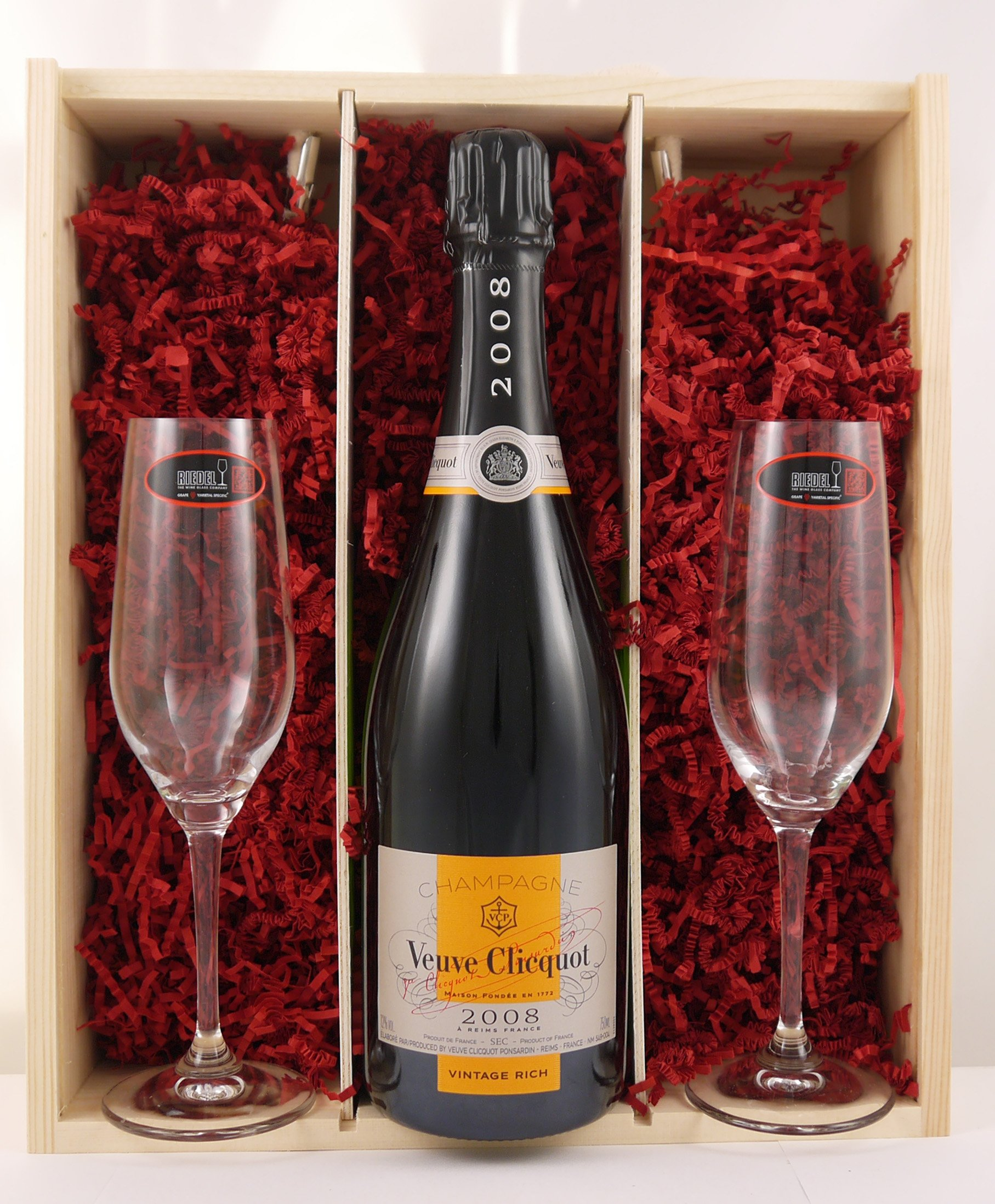 Veuve Clicquot Vintage Rich 2008 Champagne Gift set with two Riedel Crystal Champagne glasses in a wooden luxury gift box