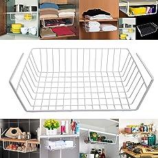 Livzing Metal Compact Under Shelf Hanging Kitchen Cabinet Basket Wrap Rack (White)