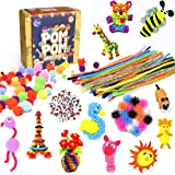 Asian Hobby Crafts Pom Pom Crafts Kit with 50pcs Pipe Cleaners,100pcs goggly Eyes and 50pcs Pompoms for DIY School Projects,