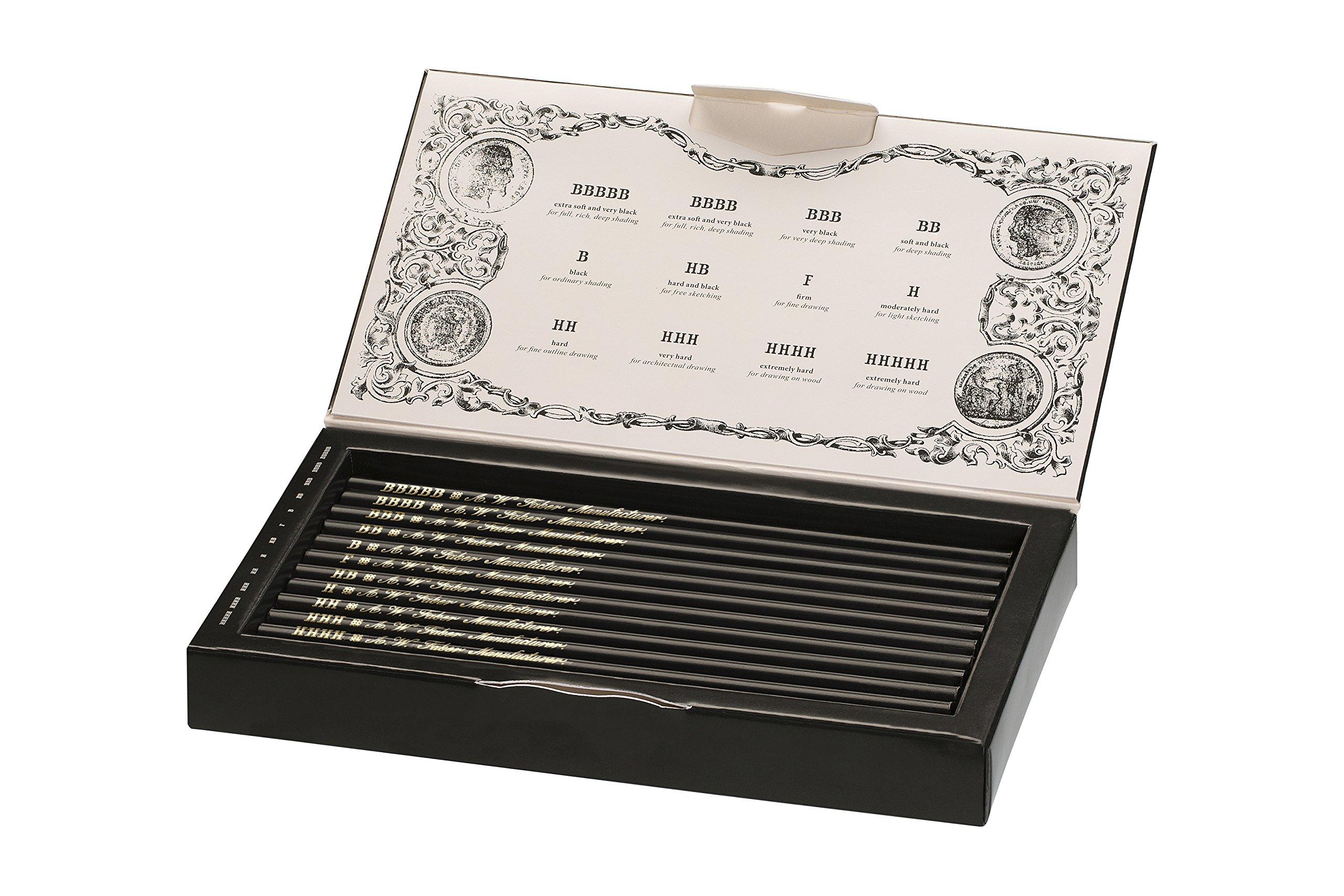Faber-Castell 211817 – Estuche de colección edición limitada con 12 lápices Polygrade con distintos grados de dureza (5B – 5H)