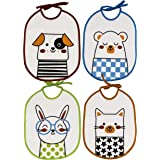 Ti TIN - Pack 4 Baberos Impermeables para Bebé 73% algodón - 27% poliéster | Lote de 4 Baberos para Bebés de 6 a 18 Meses con