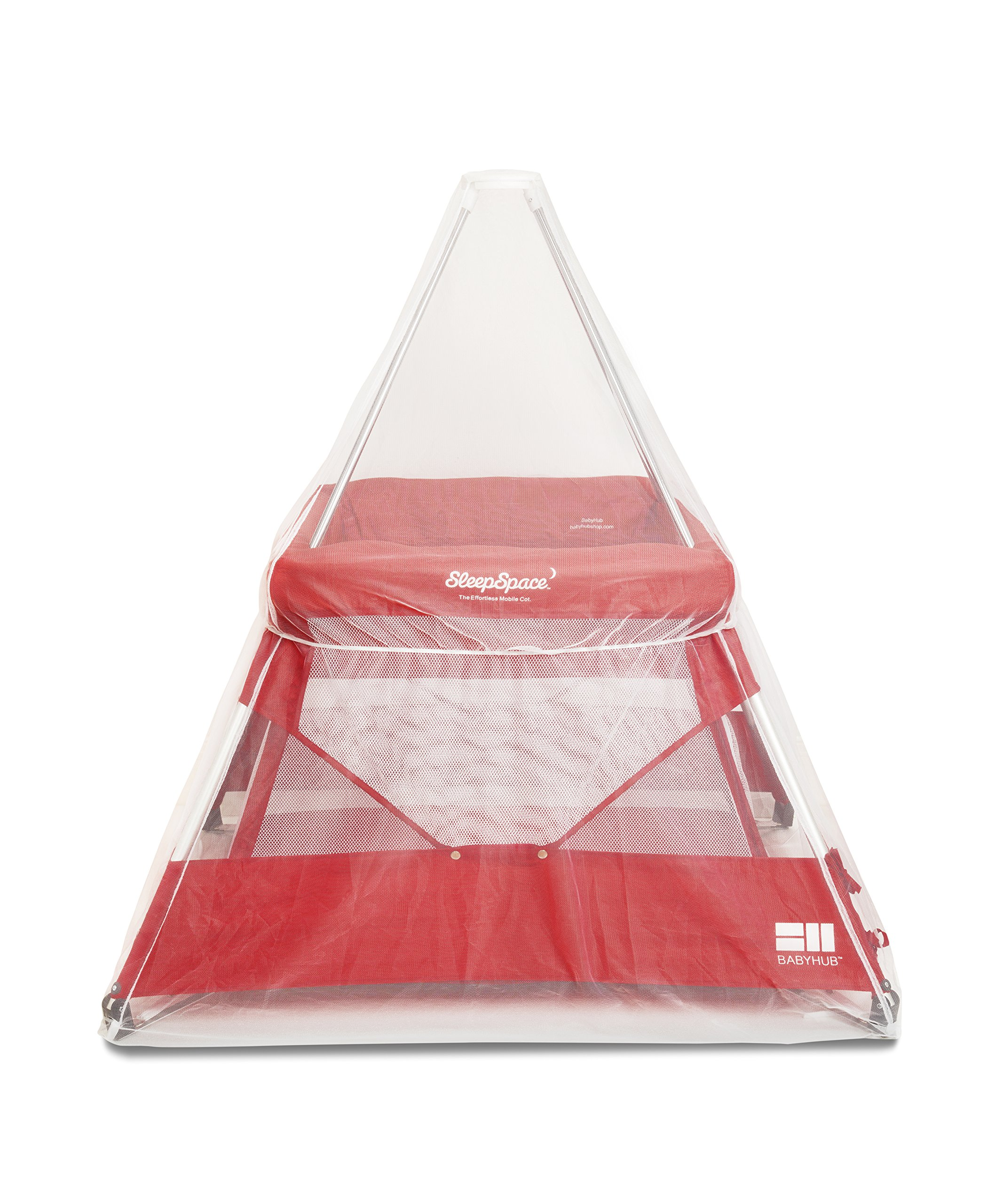 BabyHub SleepSpace Travel Cot with Mosquito Net, Red BabyHub Three cots in one; use as a travel cot, mosquito proof space and reuse as a play tepee Includes extra mosquito net cover that can be securely in place Can be set up and moved even while holding a baby 2