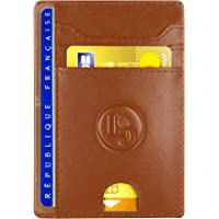 Porte Carte De Credit et Pièce Identité Minimaliste - Protection Cartes Bleue sans Contact - Petit Etui Cuir Slim…