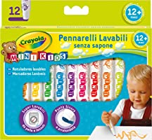 CRAYOLA- Mini Kids Pennarelli, Inchiostro Super Lavabile, Punta Arrotondata di Sicurezza, Colori Assortiti, età 12 Mesi,...