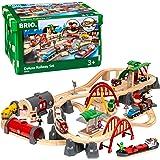 BRIO World 33052 Deluxe Railway Set | Tågset Järnväg Deluxe. 87 delar. Leksakståg med tillbehör och skenor i trä för barn frå