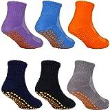 MaoXinTek Calcetines Antideslizantes para Niños Pequeños Algodón Lindo con Puños, Calentar 6 Pares de Zapatillas Calcetines d