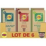 Lipton Assortiment de 3 Thés en Capsules Compatibles Nespresso : Thé Vert Marrakech Mint, Infusion Verveine Menthe, thé Noir