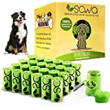 SAWA Dog Poop Bags Lavender Scented with Dispenser 20 Rolls 300 Packs of Thick Poo Bags and Leash Clip for Doggy Cat Puppy La