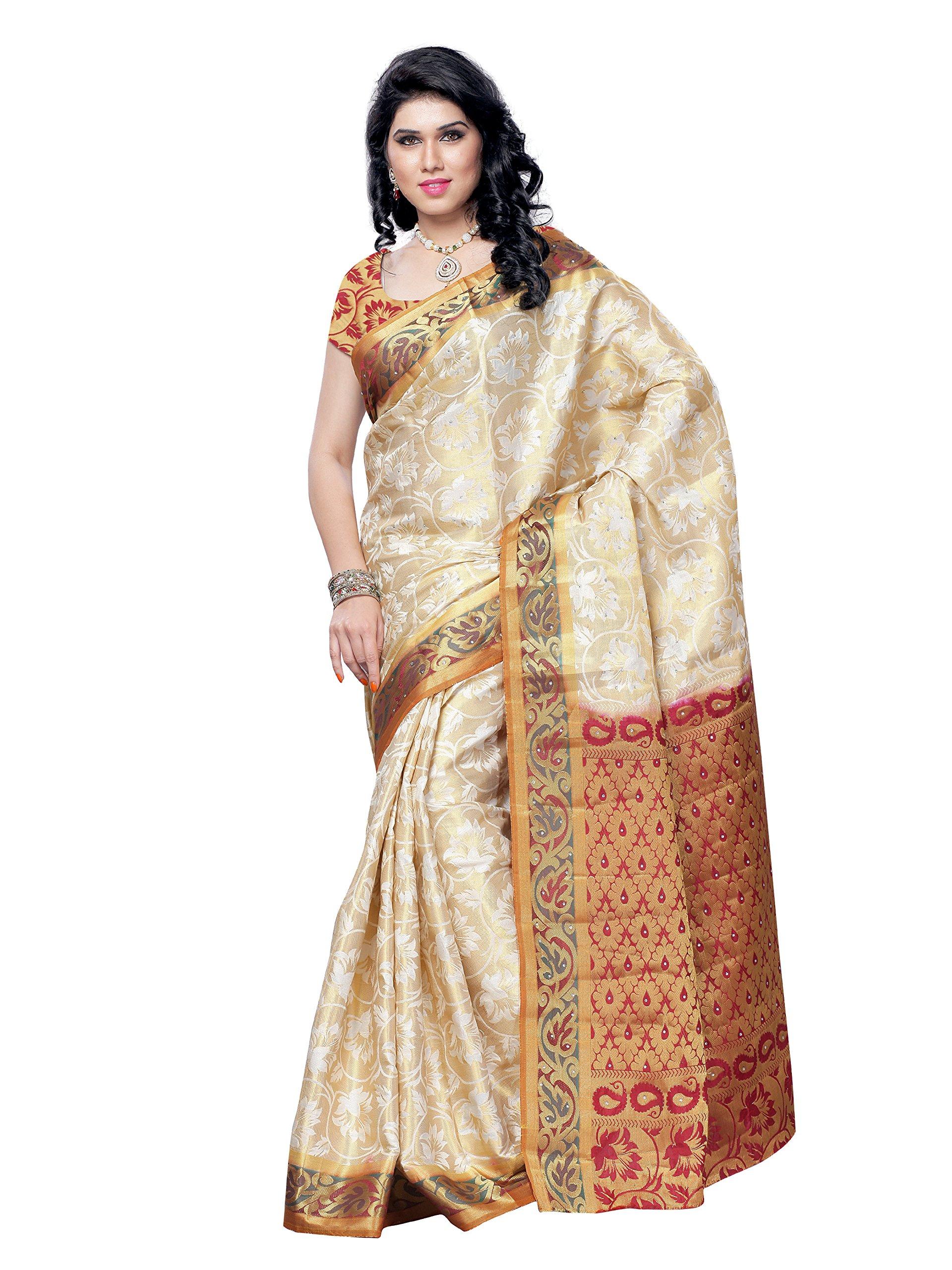 Women's Tassar Silk Saree Off-White