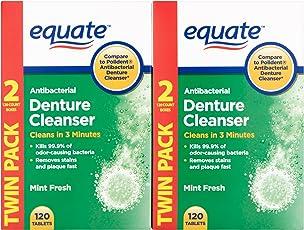 Equate Antibacterial Mint Fresh Denture Cleanser Tablets, 240 Ct
