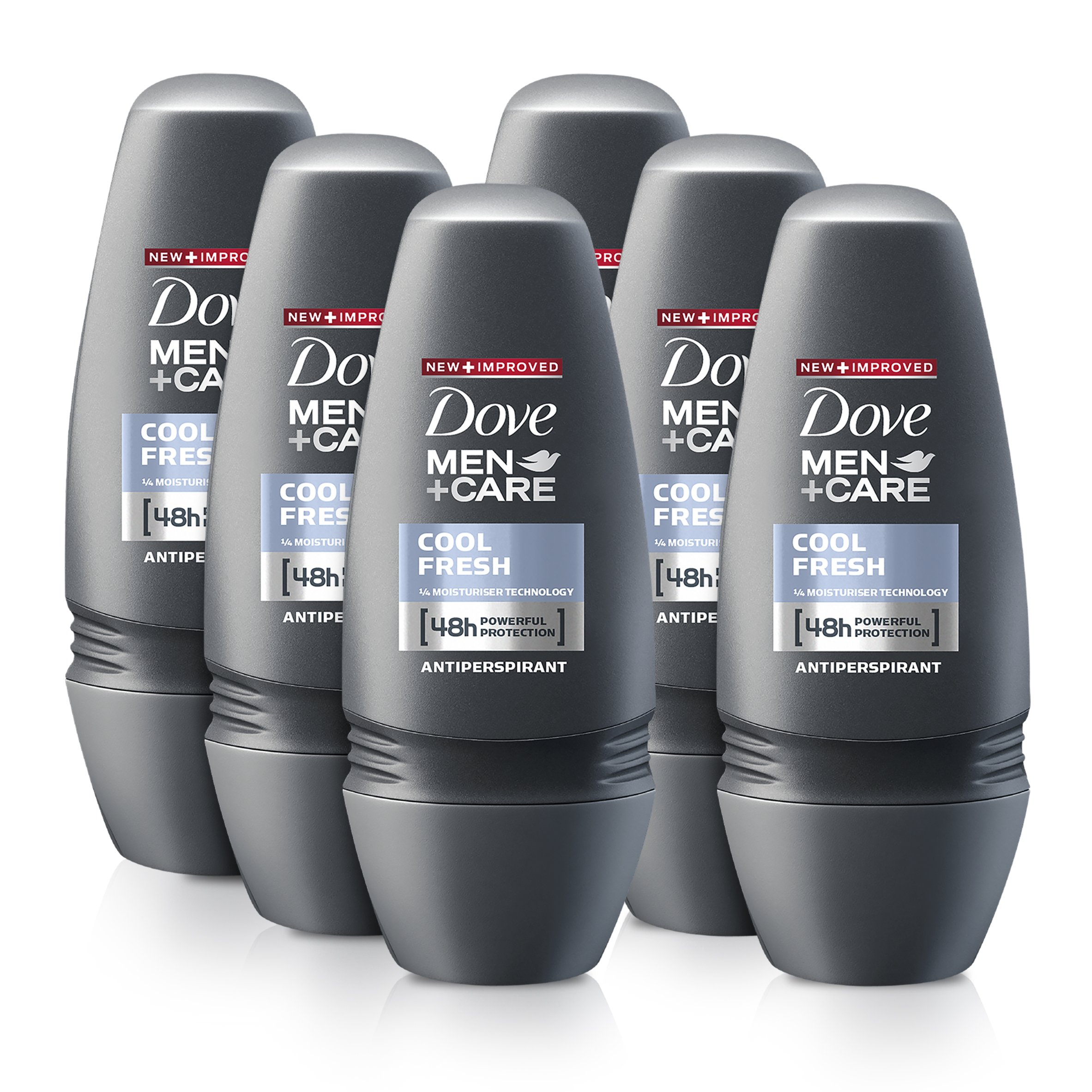 Dove Men + Care Cool Fresh Antiperspirant Deodorant, Moisturising Roll On (6 x 50 ml)