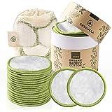 Discos Desmaquillantes Reutilizables Greenzla (20pcs) con bolsa de lavandería lavable y caja redonda para guardarlas |100% al