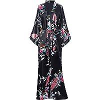 BABEYOND Silk Satin Kimono Dressing Gown Peacock Kimono Robe For Women Silk Wedding Girl's Bonding Party Pyjamas 135cm Long
